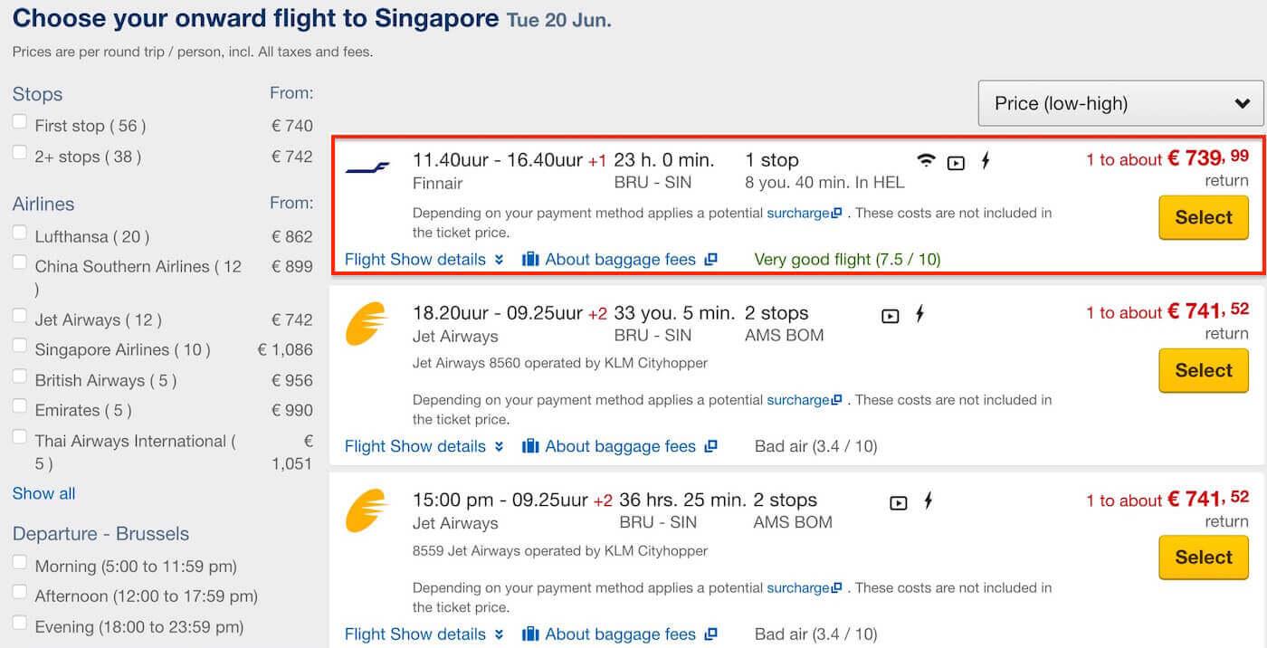 Expedia Belgium: Brussels to Singapore