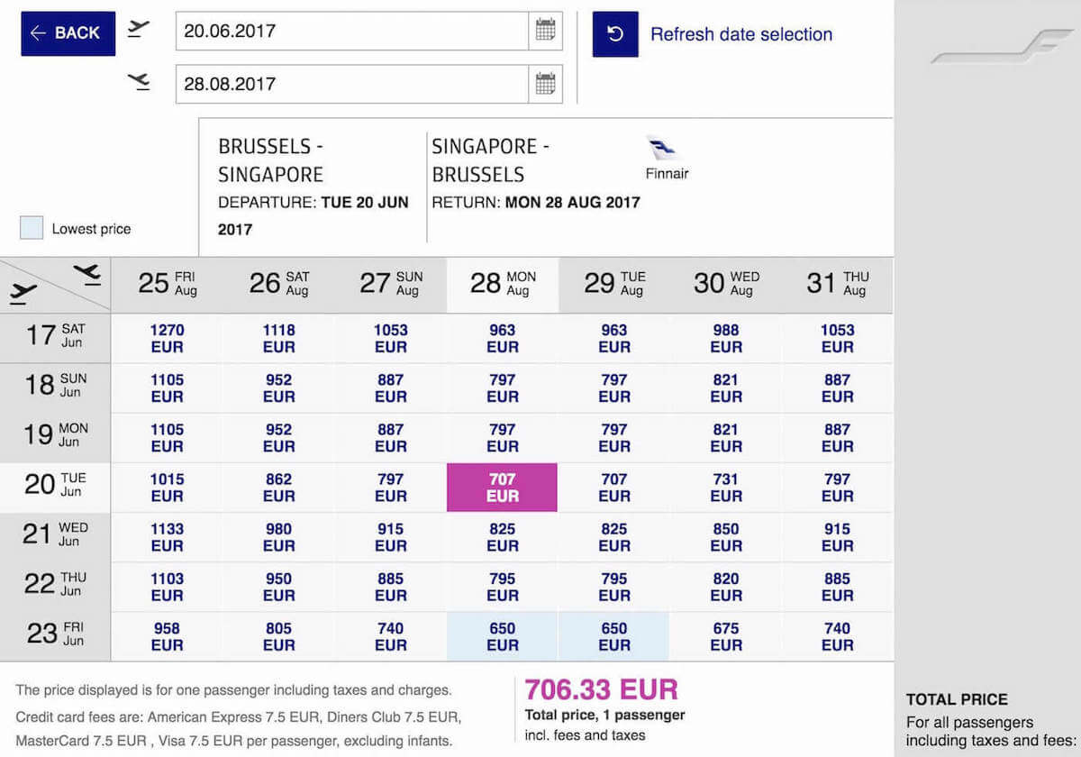 Finnair Website: Flights from Brussels to Singapore