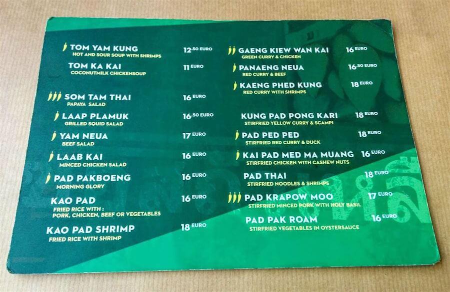 Yam Thai Antwerpen Food Menu